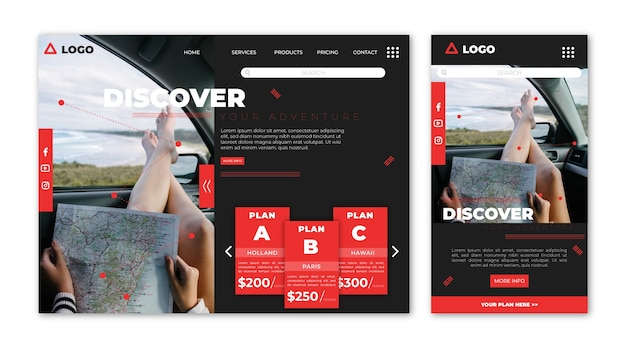 Corporate travel landing page