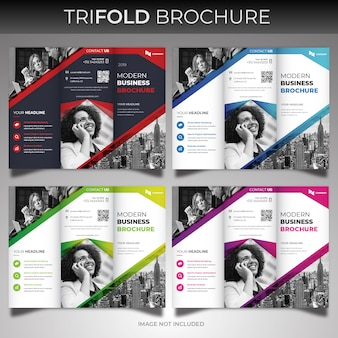 Corporate trifold brochure cover template set