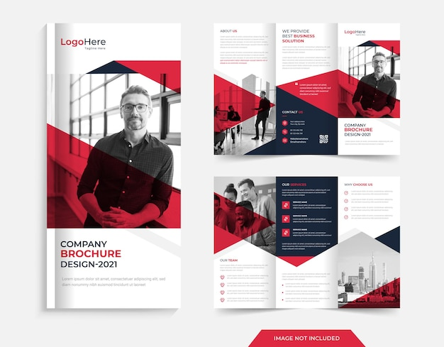 Corporate trifold brochure design with red blue shapespremium vector