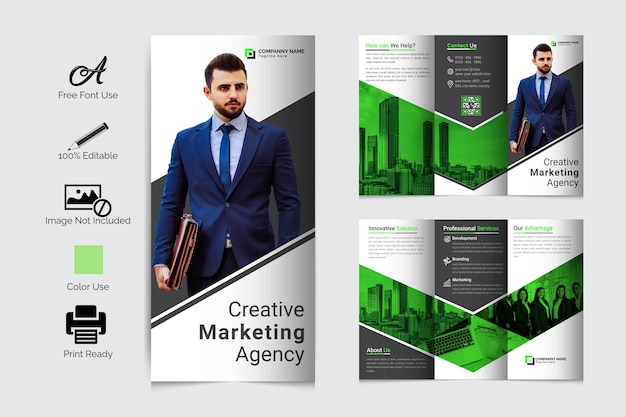 企業の三つ折りパンフレットテンプレートデザインプレミアムベクトル