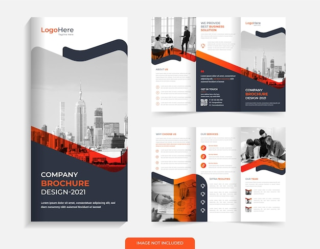 Corporate trifold brochure template design with orange color shapes