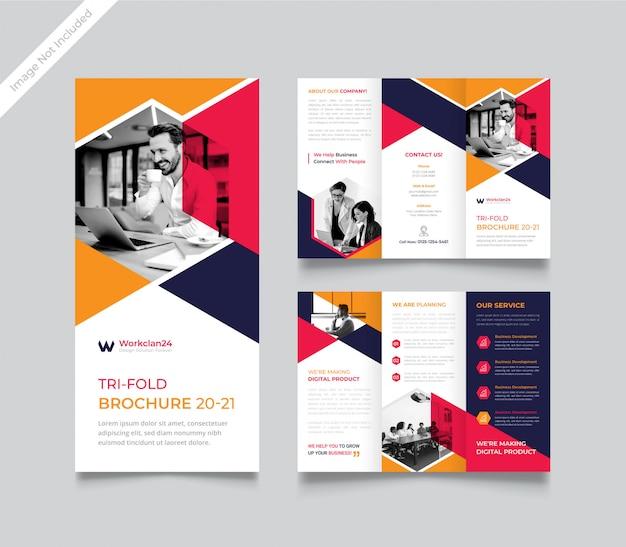 Corporate trifold brochure template premium