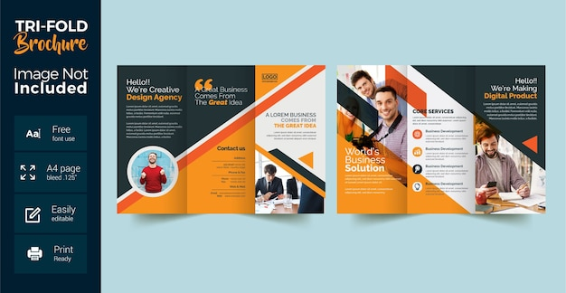 Corporate trifold brochure with orange shape layout
