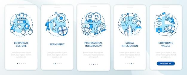 개념이있는 모바일 앱 페이지 화면을 온 보딩하는 기업 가치. 팀워크. 작업자 적응 요소 연습 rgb 색상 삽화가 포함 된 5 단계 ui 템플릿