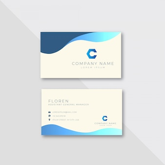 Corporate wavy business card design template