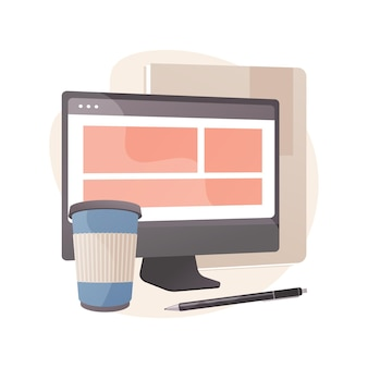 플랫 스타일의 기업 웹 사이트 추상 그림