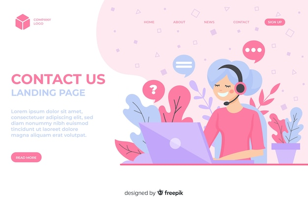 Corporate website landing page