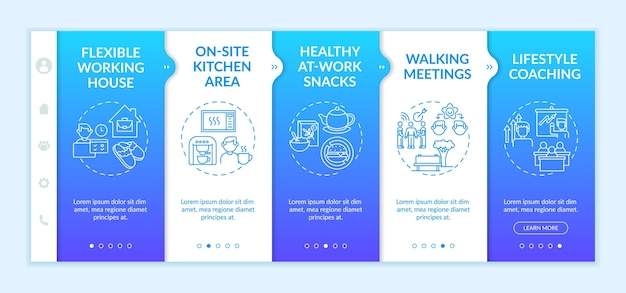Corporate wellbeing examples onboarding  template. on-site kitchen area. walking meetings. responsive mobile website with icons. webpage walkthrough step screens. rgb color concept