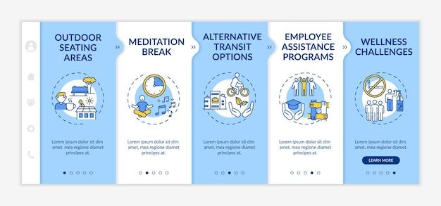 Шаблон адаптации корпоративного благополучия. перерыв на медитацию. альтернативный транспорт. проблемы со здоровьем. адаптивный мобильный сайт с иконками. экраны пошагового просмотра веб-страниц. цветовая концепция rgb