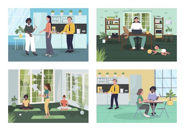 Корпоративный оздоровительный плоский набор. здоровый образ жизни. посредничество, кофе-брейк. домашний офис. сотрудники 2d героев мультфильмов с коллекцией интерьеров