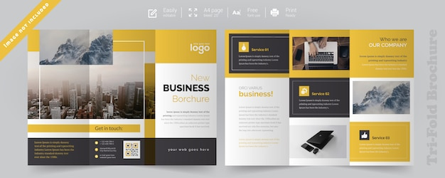 Corporate yellow trifold brochure