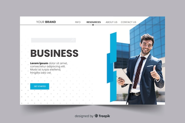 Corporation business landing page with photo