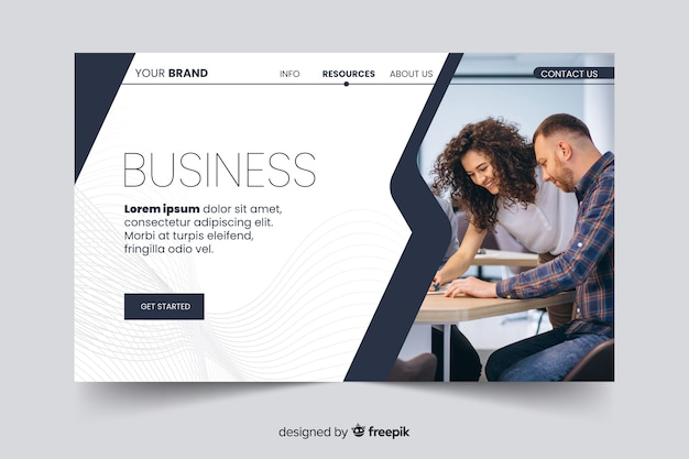 Corporation landing page with photo template