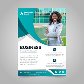 Corporative annual business report with photo