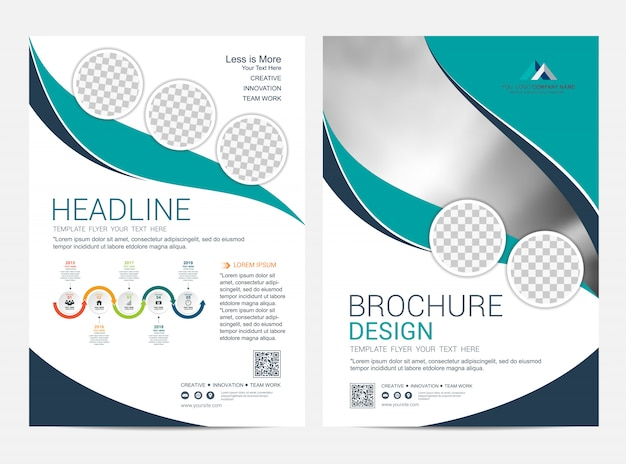 Corporative booklet layout template, leaflet flyer design