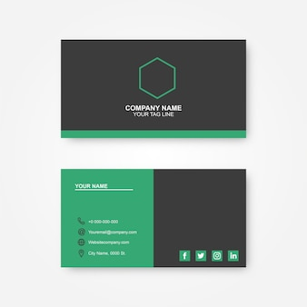 Corporative business card black and green
