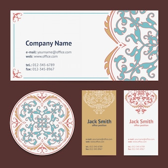 Corporative business cards template design set and envelope with beer mat with turkish ornament and damask style