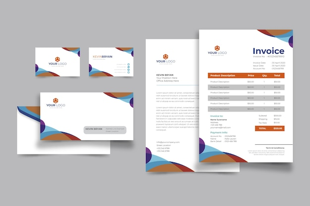 Corporative business invoice and business card