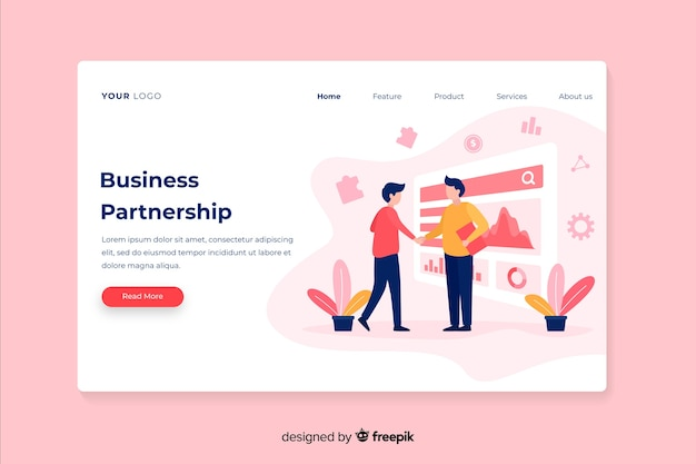 Corporative business strategy landing page