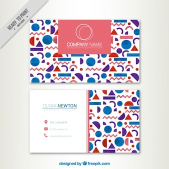 Corporative card with geometric shapes  in flat design