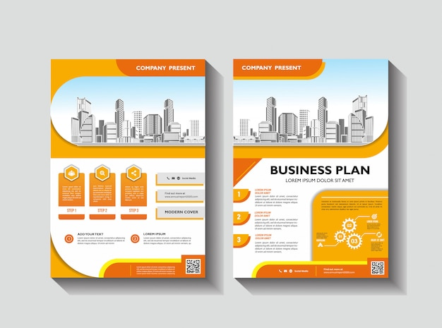 Corporative flyer layout annual report template