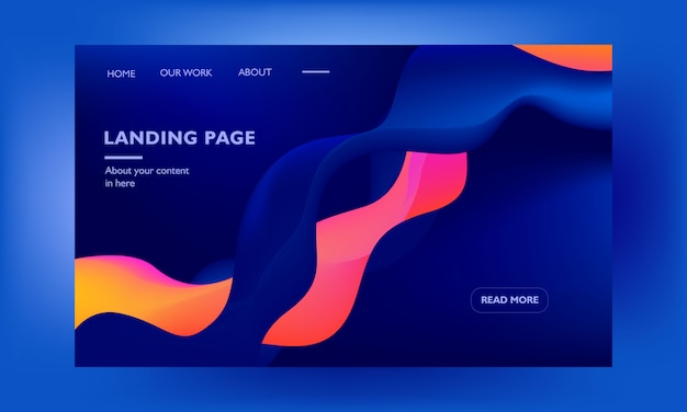 Corporative landing page web design template on blue