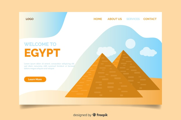 Corporative landing page web template for egypt travel agency