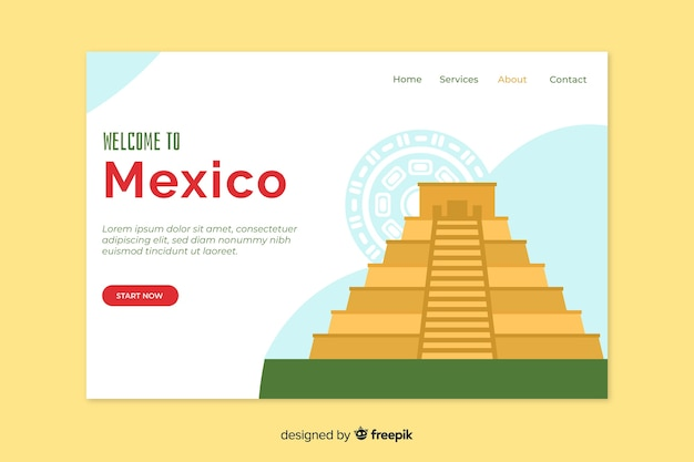 Corporative landing page web template for mexico travel agency