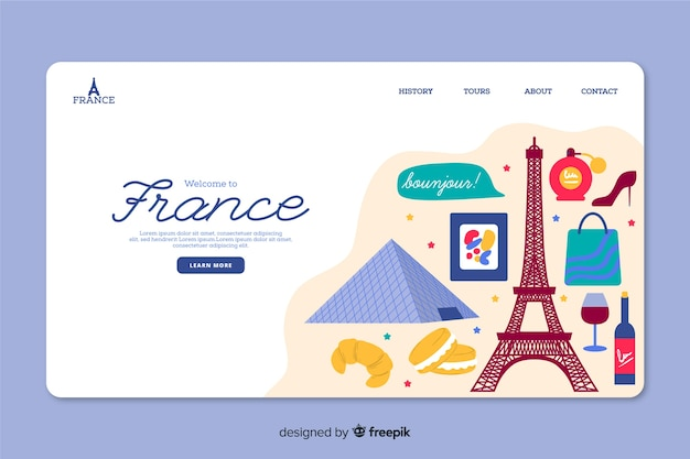 Corporative landing page web template for travel agency in france