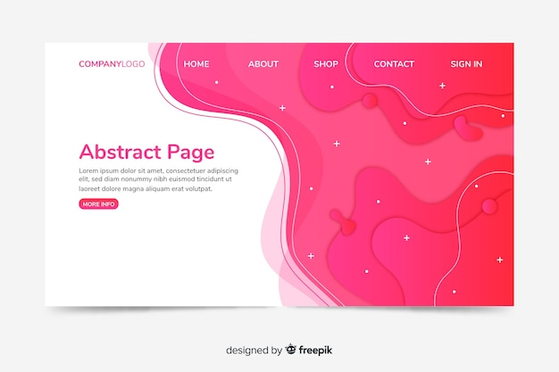 Corporative landing page web template with abstract design