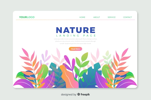 Corporative landing page web template with nature theme design