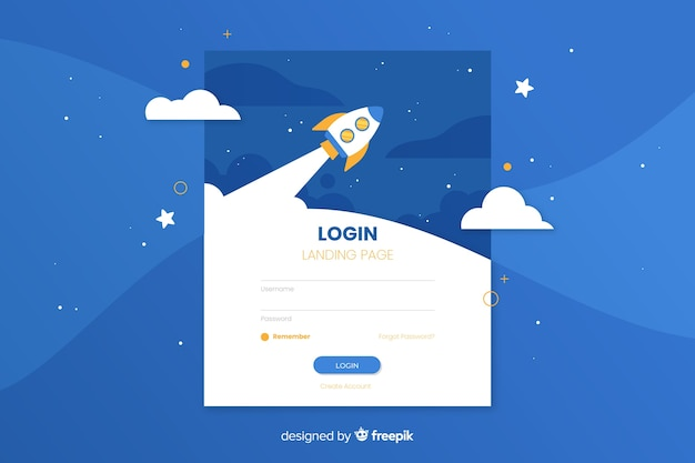 Corporative log in landing page