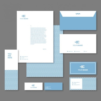 Corporative stationery with blue waves
