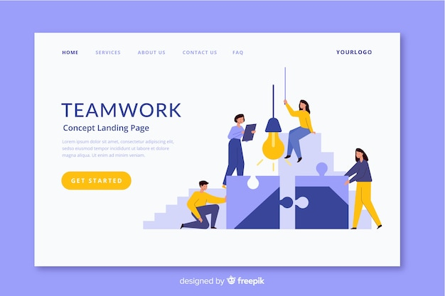 Corporative teamwork landing page design
