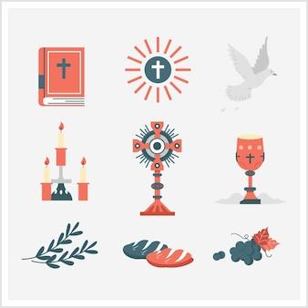コーパスクリスティイエスを記念する背景にフルアイテム