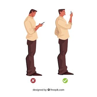 Правильная и неправильная позиция перед мобильным телефоном Бесплатные векторы