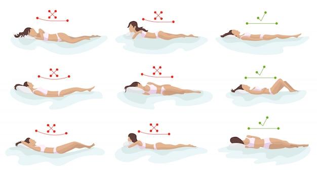 正しいと正しくない睡眠の体の姿勢。さまざまなマットレスに背骨を配置します。整形外科マットレスと枕。背中、首の健康管理。比較イラスト。健康的な睡眠姿勢。