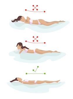 正しいと正しくない睡眠の体の姿勢。さまざまなマットレスに背骨を配置します。整形外科マットレスと枕。