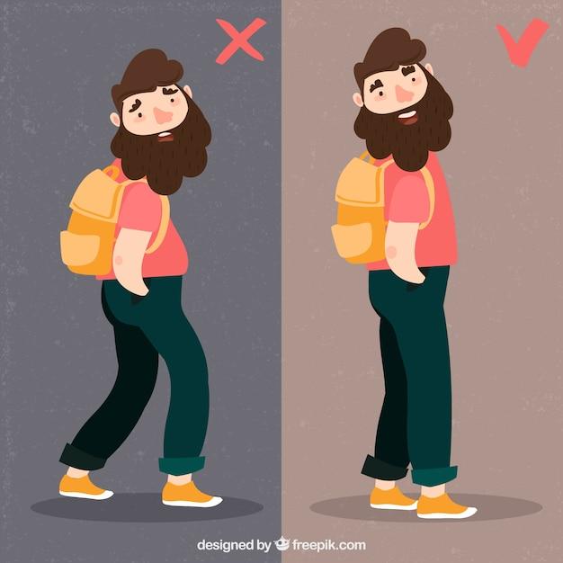 Correct and incorrect back posture