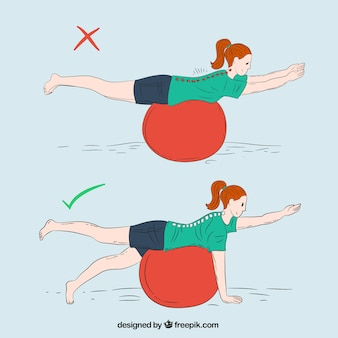 Correct and incorrect exercise with ball