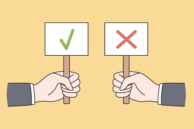 Correct and incorrect signs concept