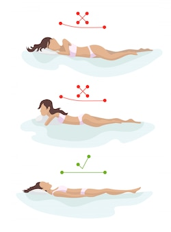 Correct and incorrect sleeping body posture. position spine in various mattresses. orthopedic mattress and pillow.