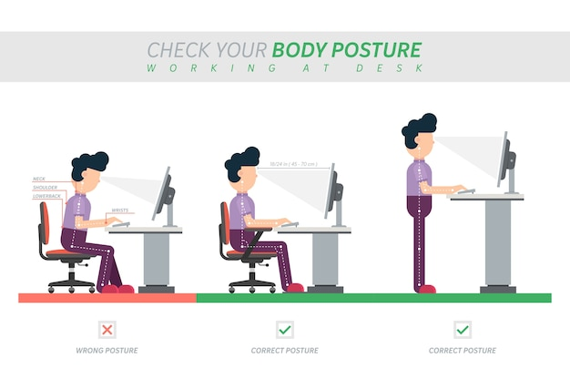 Correct posture of sitting at desk