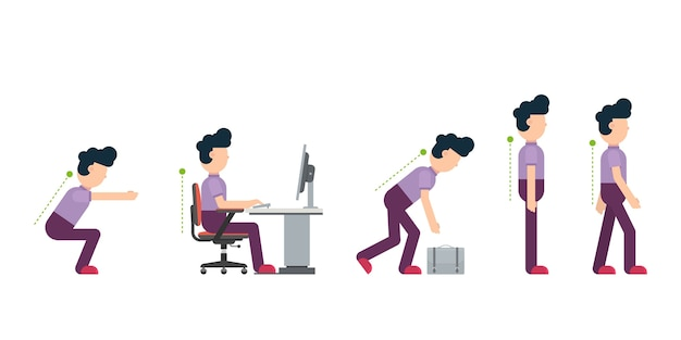 Correct sitting at desk and posture