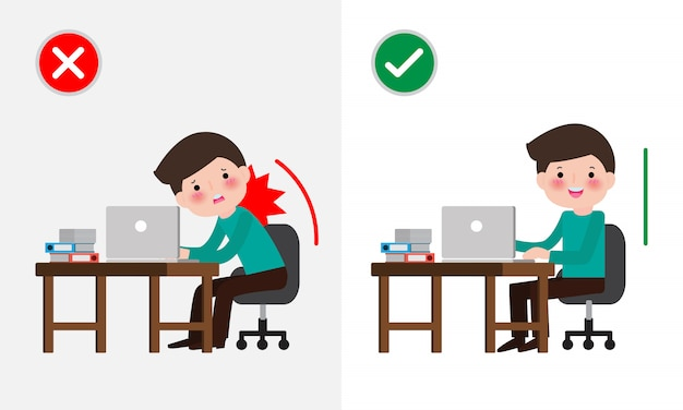 Correct sitting posture and incorrect. disease back pain. medical healthcare . office syndrome, businessman cartoon   illustration.