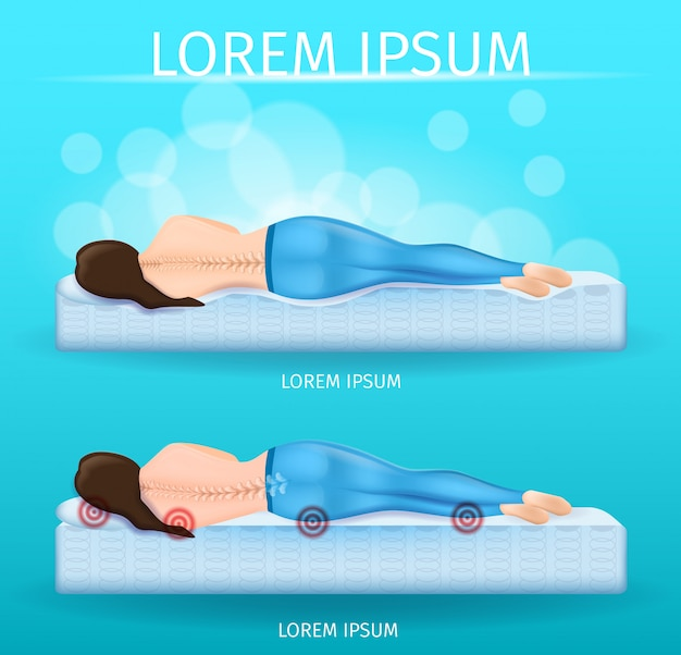Correct spine sleeping position vector banner