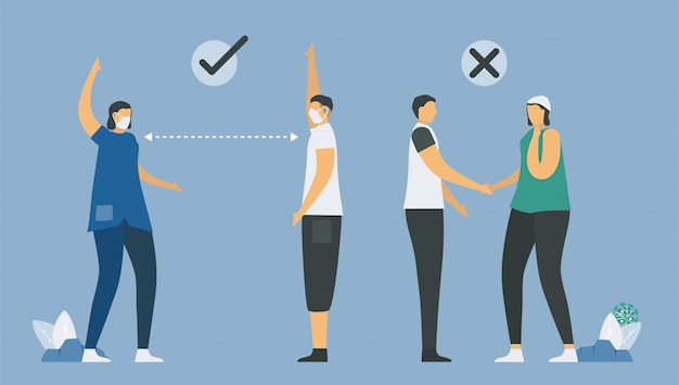 Correct way to protect coronavirus. that is a social distancing. people will greeting by hands showing. and do not touch hands from other people. illustration designs in flat style.
