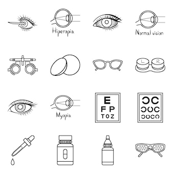 Correction of vision  outline icon set. isolated illustration ophthalmology and correction of vision .icon set of diagnostic eye.