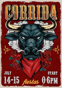 Corrida vintage colorful poster template