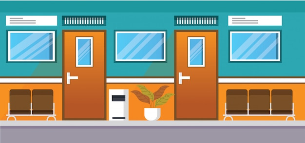 Corridor clinic hospital illustration